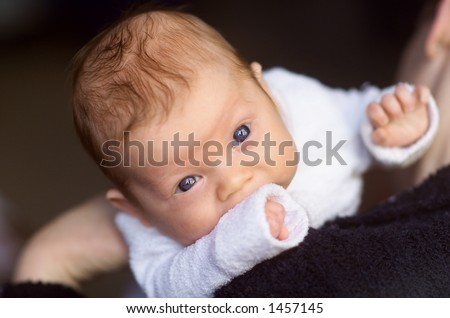 Newborn baby boy on his Mothers shoulder - stock photo