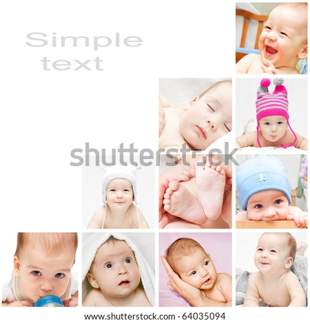 Newborn baby collage - stock photo