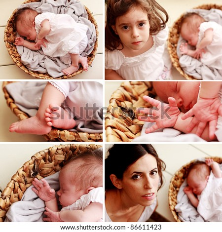 newborn baby collage - stock photo