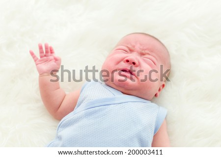 Newborn baby cry - stock photo