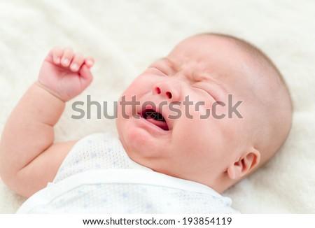 Newborn baby crying - stock photo