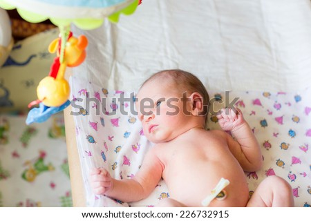 Newborn baby, 3 days old at home - stock photo