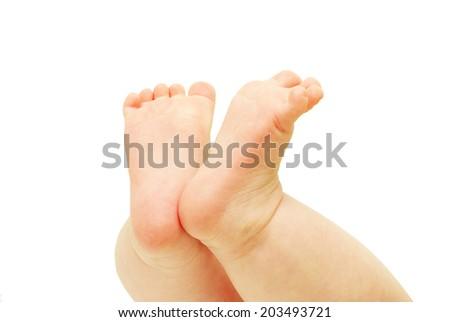 newborn baby feet  - stock photo