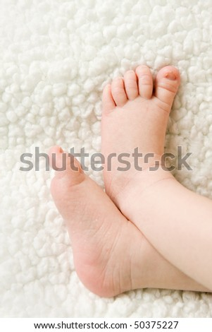 newborn baby feet on a blanket - stock photo