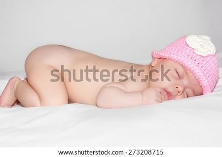 Newborn baby girl - stock photo