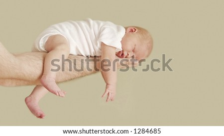 Newborn Baby Girl with Father
