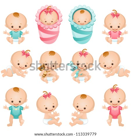 Newborn baby icon set  - raster version - stock photo