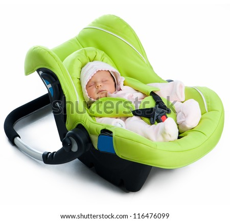 Newborn baby in a Car Seat, isolated on white - stock photo