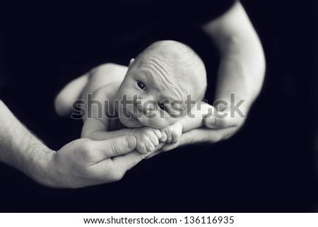 Newborn baby in dad's hands - stock photo