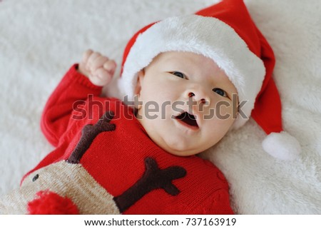 newborn baby is  ready for the christmass