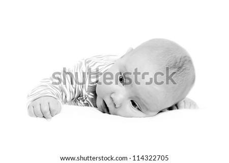 Newborn baby isolater on the white background - stock photo