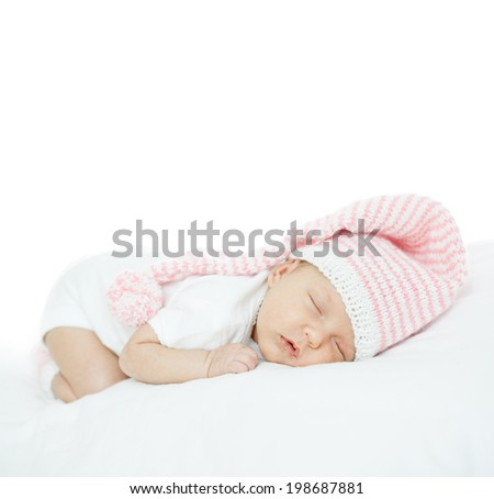 newborn baby one month age on white - stock photo