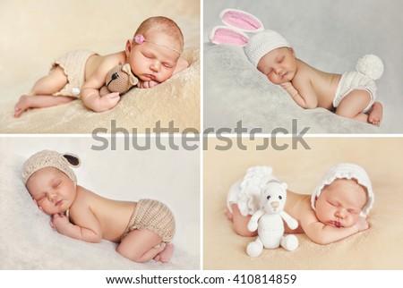 Newborn baby peacefully sleeping. Little newborn baby few days, sleeps. baby girl. infant. cute newborn baby. Sleeping baby girl. Collage of four pictures. - stock photo