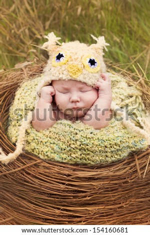 Newborn baby posing as an owl in an outdoor portrait setting.