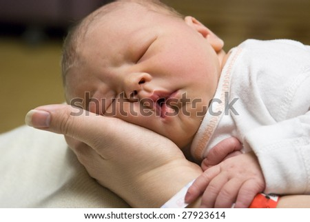 Newborn baby resting in his mother's hand