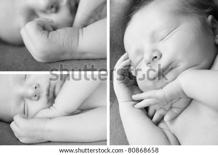 Newborn baby sleeping on a soft blanket - stock photo