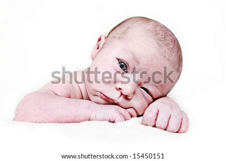 Newborn Baby taken closeup 16 days old - stock photo
