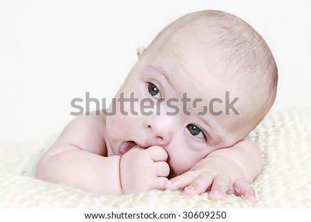 Newborn Baby taken on white background - stock photo