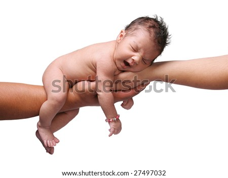 newborn baby yawning and being held by both parents hands on white background - stock photo