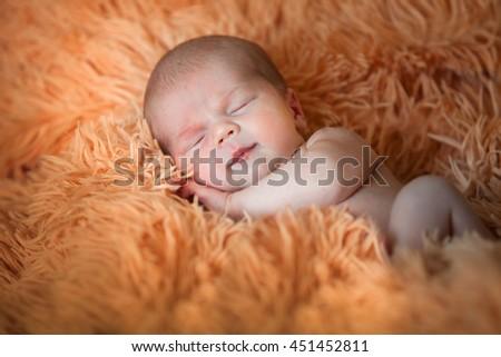 Newborn beautiful baby - stock photo