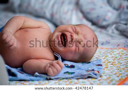 newborn crying baby - stock photo