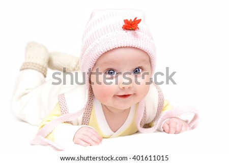 newborn european baby girl boy with flower 3 months old isolated