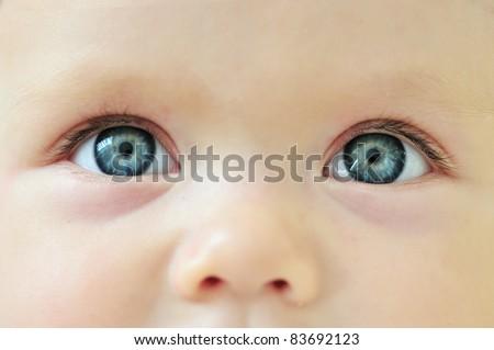 Newborn eyes and nose,  close-up - stock photo