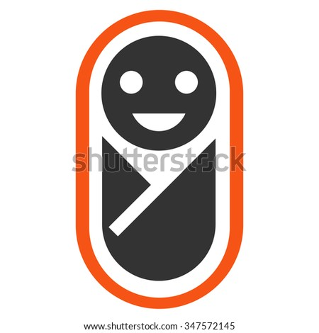 Newborn glyph icon. Style is bicolor flat symbol, orange and gray colors, rounded angles, white background.