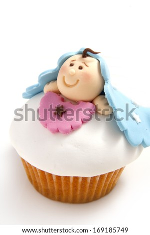 Newborn homemade cupcake - stock photo