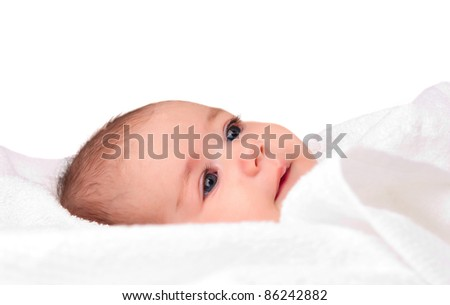newborn in the towel on a white background - stock photo