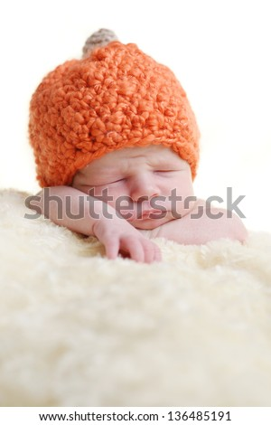 newborn on the blanket with white background - stock photo