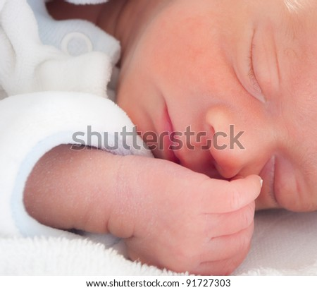 newborn premature baby boy - stock photo