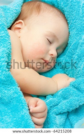 Newborn sleeping baby - stock photo