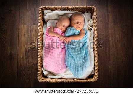 Newborn twins lying down inside the wicker basket - stock photo