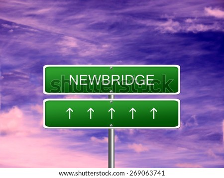 Newbridge city Ireland tourism Eire welcome icon sign. - stock photo
