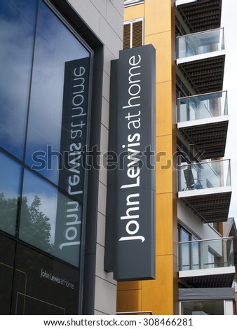 Newbury, Parkway Shopping Centre, Berkshire, England - August 21, 2015: John Lewis at home department store name on side of retail building - stock photo