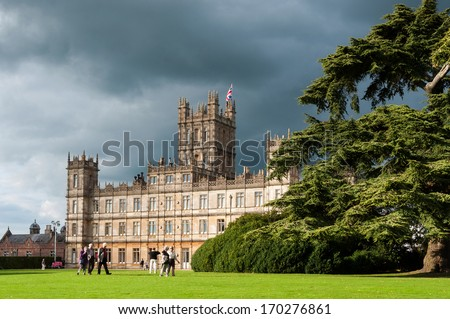 NEWBURY, UK - CIRCA OCTOBER 2011: Highclere Castle is the main setting for the ITV period drama Downton Abbey. Downton Abbey is broadcasted in more than 100 countries. - stock photo