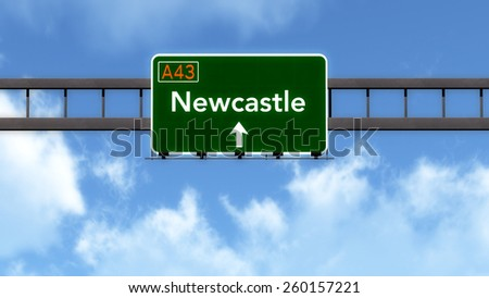 Newcastle Australia Highway Road Sign - stock photo