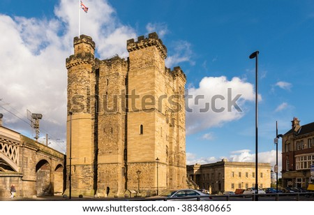 Newcastle Castle Keep / Newcastle's Castle Keep and Black Gate in the city centre are all that remain of a medieval fortification which gave the city its name. - stock photo