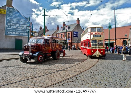 NEWCASTLE, ENGLAND - APRIL 5. The Great North Festival of Transport at Beamish Museum featured historic tramcars from Sunderland and Blackpool on April 5, 2012, Newcastle, England. - stock photo