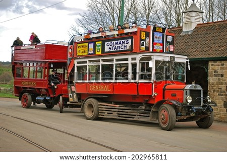 NEWCASTLE, ENGLAND - APRIL 5. The Great North Festival of Transport at Beamish Museum featured historic buses on April 5, 2012, Newcastle, England. - stock photo