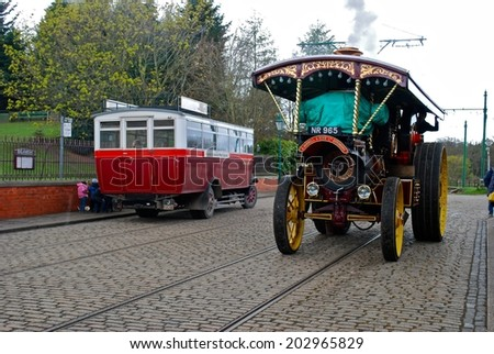 NEWCASTLE, ENGLAND - APRIL 5. The Great North Festival of Transport at Beamish Museum featured historic vehicles on April 5, 2012, Newcastle, England. - stock photo