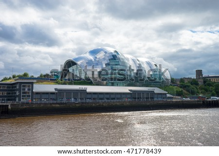 NEWCASTLE, ENGLAND - AUGUST 21, 2016. Sage Gateshead, a concert hall on Newcastle/Gateshead Quayside. For musical education, performance and conferences. Located on the south bank of the River Tyne.