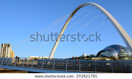 NEWCASTLE, ENGLAND - JUNE 10: Bridge on River Tyne on June 10, 2015 at Newcastle, England. Newcastle is famous of its bridges above Tyne River.