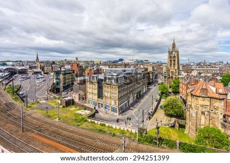 Newcastle, England - June 4: Newcastle riverfront pictured on June 4th, 2015, in Newcastle, England. Newcastle is the most populated city of the north of England.