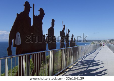 Newcastle, NSW, Australia - November 7th 2015. The ANZAC Memorial Walk with the names of Newcastle and district men and women who Australia and New Zealand during the Great war of 1914 - 1918. - stock photo