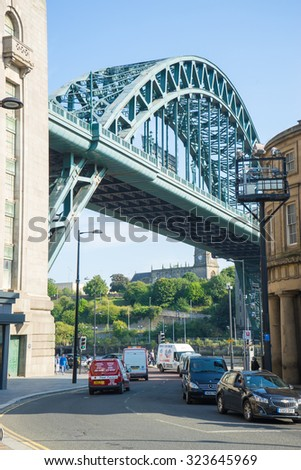 NEWCASTLE, UK, SEPTEMBER 15th, 2015.  The Tyne Bridge taken from the popular Sandhill lane, just off Newcastle Quayside.