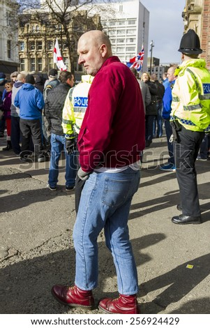 NEWCASTLE UPON TYNE, ENGLAND, FEBRUARY 28, 2015. European 'Anti-Islamisation' group PEGIDA, holds first UK demonstration. Sunday February 28, 2015. Newcastle Upon Tyne. England,