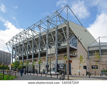 Newcastle upon Tyne, UK - OCT 28: The Gallowgate Stand at St James Park, ���´Newcastle, UK on Oct, 28 2013.  The ground is home to Newcastle United FC and has a capacity of 52,404. - stock photo