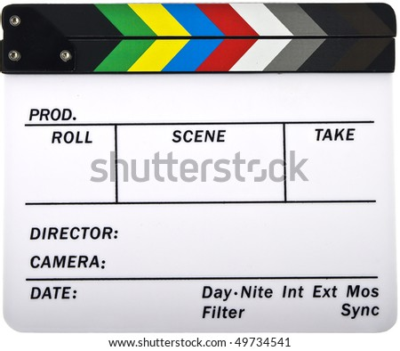 Newer closed clapboard isolated on white - stock photo